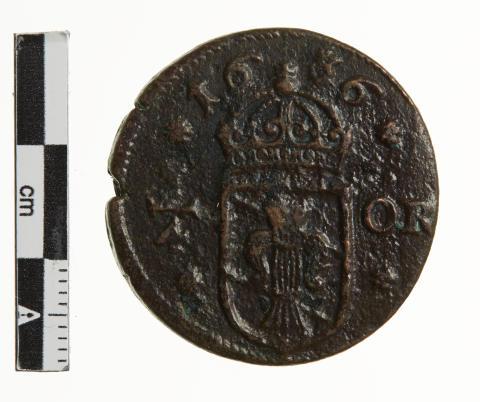 Svensk kvart-øre af kobber fundet ved Bjerregaard Strand