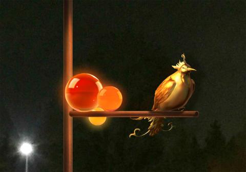 Paradisfågel i Rönningerondellen