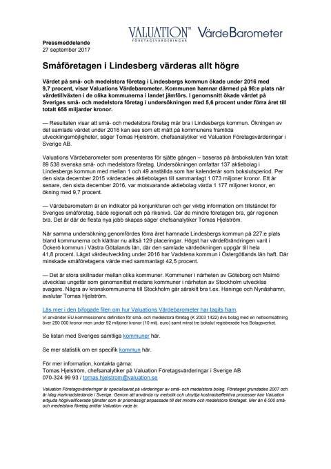 Värdebarometern 2017 Lindesbergs kommun