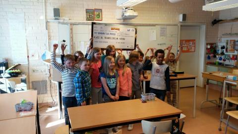 Glada vinnare i klass 3K Triangelskolan i Kiruna.