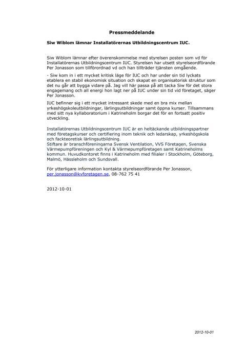 Siw Wiblom lämnar Installatörernas Utbildningscentrum, IUC