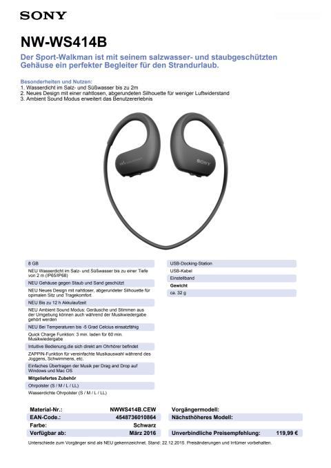 Datenblatt NW-WS414B von Sony_Schwarz