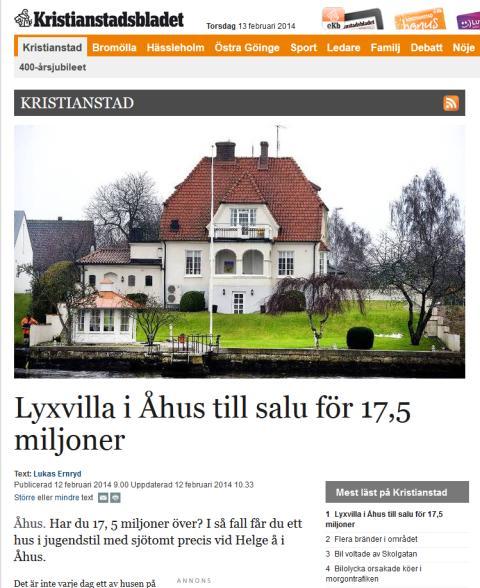 Lyxvilla i Åhus till salu för 17,5 miljoner