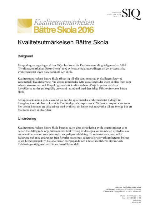 Presentation Kvalitetsutmärkelsen Bättre Skola 2016