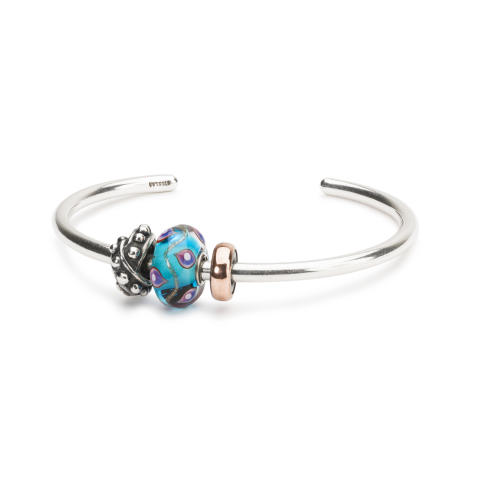 Silver bangle with beads