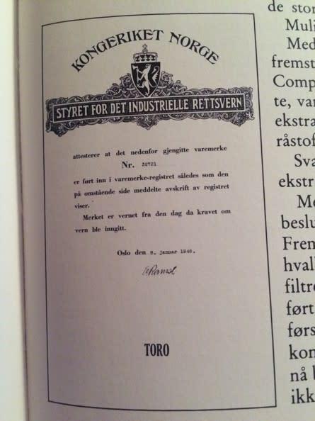 Varemerkeregistrereingen av Toro hos Styret for det industrielle rettsvern som Patentstyret het i 1946