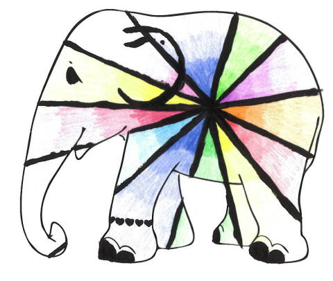 Schools parade. One of the thousands of school designs submitted for the Elephant Parade UK tour