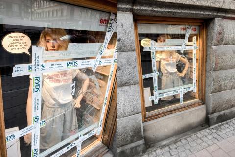 Feministiskt skyltfönster vandaliserat i centrala Göteborg