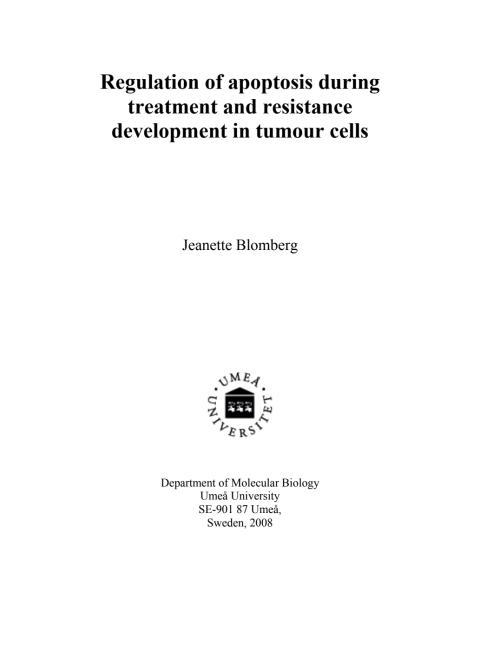 """Avhandling-Tumörceller utvecklar resistens mot sitt eget """"självmordsprogram"""""""