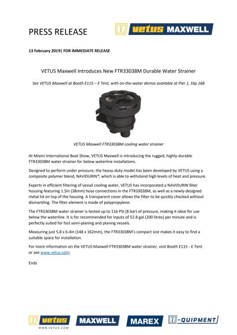 VETUS Maxwell Introduces New FTR33038M Durable Water Strainer