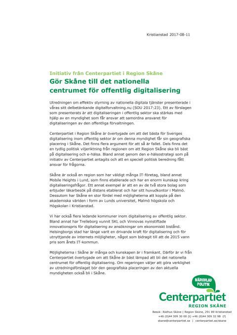 Intiativ - Gör Skåne till det nationella centrumet för offentlig digitalisering