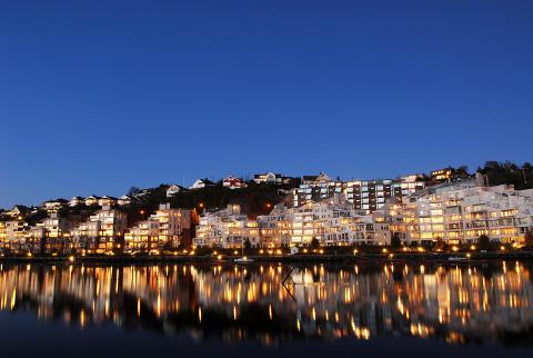 Kveldsbilde Høivold Brygge, Kristiansand