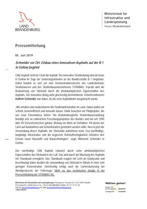 Pressemitteilung des Ministeriums für Infrastruktur und Landesplanung Brandenburg zum Einbau eines innovativen Asphalts auf der B 1 in Geltow