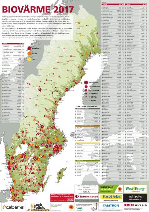 Bioenergis karta: Biovärme 2017