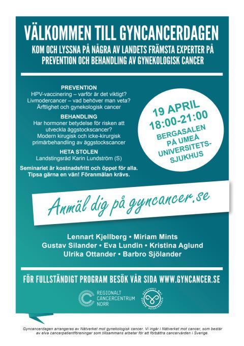 Gyncancerdagen 19 april 2016 i Umeå