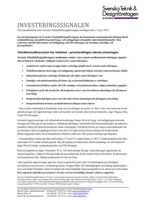 Svenska Teknik&Designföretagen: Pressmeddelande Investeringssignalen, juni 2015