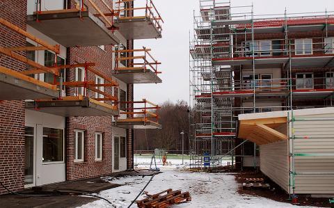 De två hyreshusen i centrala Örkelljunga - snart klara för inflyttning