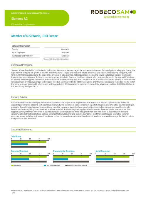 Siemens Industry Group Leader - Dow Jones Sustainability Index 2014