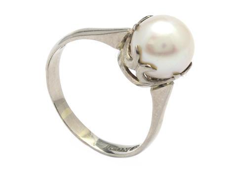 Klassiska 30/1, Nr: 141, RING, 18K vitguld, odlad pärla ca 9 mm