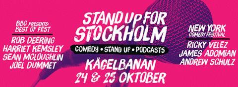 Internationella klubbkvällar på STAND UP FOR STOCKHOLM i samarbete med NEW YORK COMEDY FESTIVAL och BBC