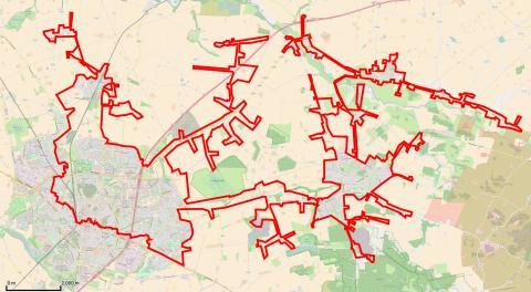 Kartan visar vilka delar som är berörda av kokningsrekommendationen