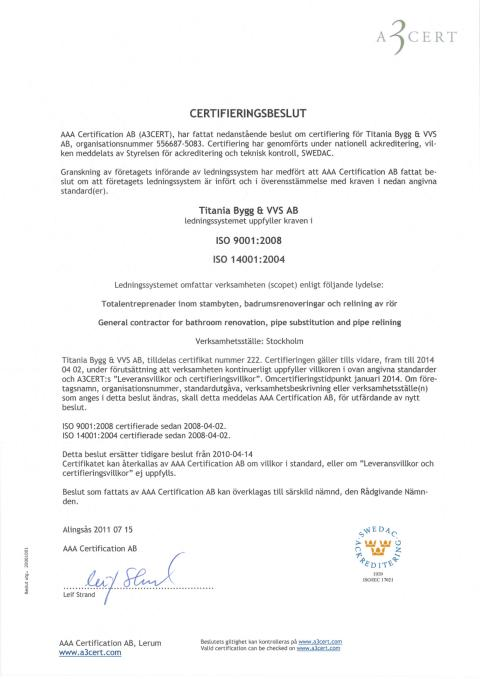 Titanias ISO 9001 och 14001 certifikat