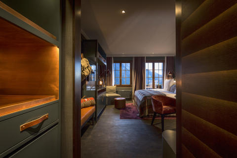 Entrance to guest room at HUUS Hotel, Gstaad, designed by Stylt Trampoli
