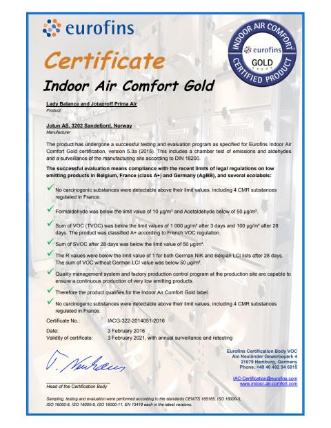 Certifikat Indoor Air Comfort GOLD