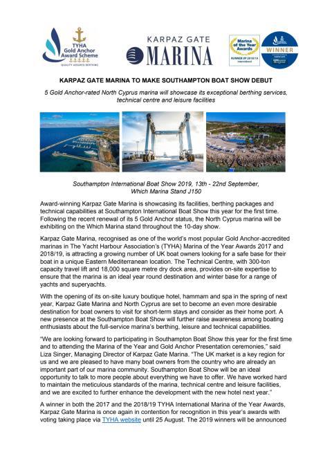 Karpaz Gate Marina to Make Southampton Boat Show Debut