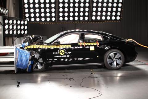 Porsche Taycan frontal offset impact test Dec 2019