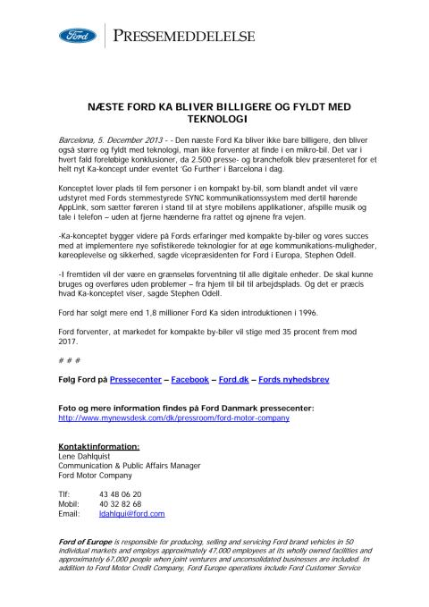 Ford ka concept international press release ford motor Ford motor company press release