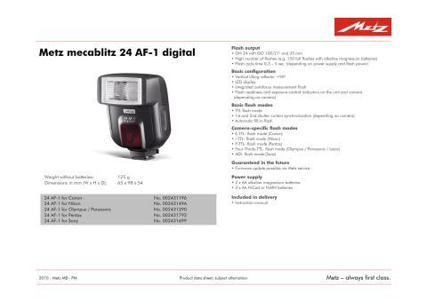 Specifikationer Metz 24 AF-1 (eng)