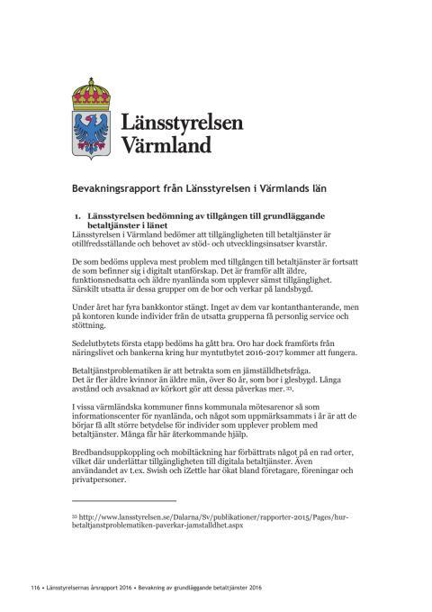 Bevakningsrapport från Länsstyrelsen Värmland (utdrag ur länsstyrelsernas rapport) (PDF)