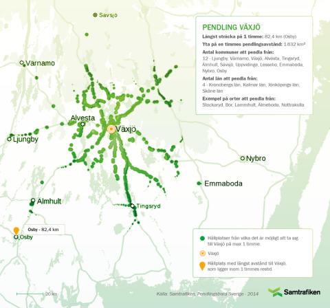 Pendlingsbara Sverige: Här kan man bo och pendla till Växjö