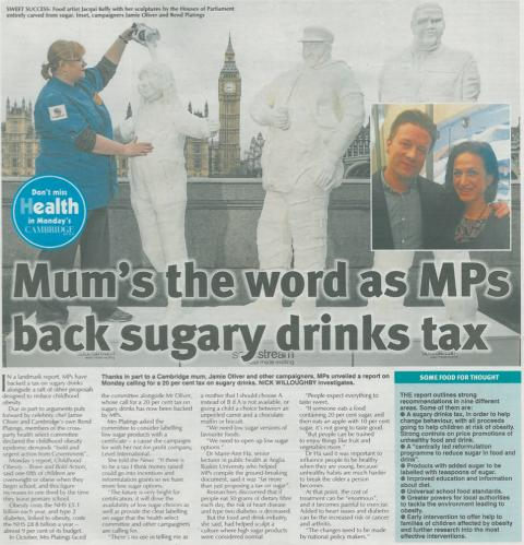 Mum's the word as MPs back sugary drinks tax