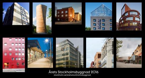 Årets Stockholmsbyggnad 2016 presenteras