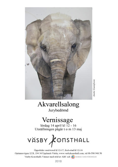 Jurybedömd Akvarellsalong i Väsby Konsthall, Vernissage 14 april