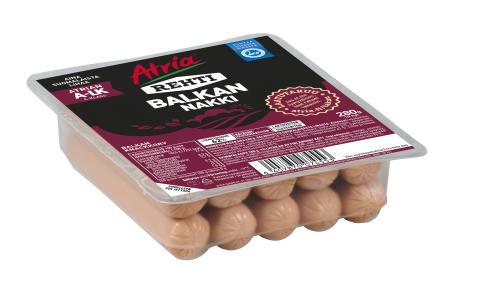 Tärkeä tiedote kuluttajille: Atria vetää kaupasta eriä Atria 280 g Rehti Balkan Nakkeja tuoteturvallisuusriskin vuoksi
