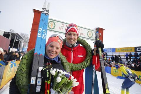 Lina Korsgren och Andreas Nygaard vann Vasaloppet 2018