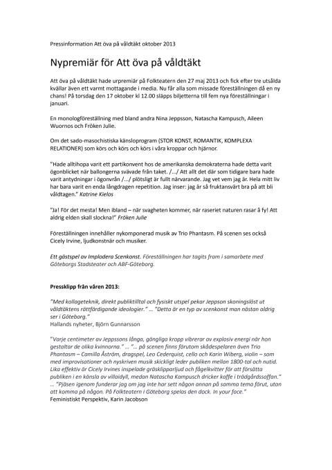 Pressinformation Att öva på våldtäkt, oktober 2013