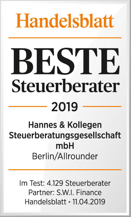 """Handelsblatt: """"Beste Steuerberater 2019"""": ETL Hannes & Kollegen als bester Allrounder  ausgezeichnet"""