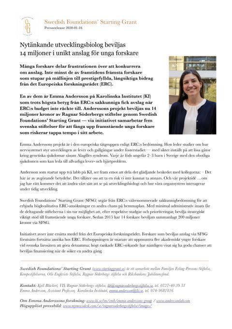 Swedish Foundations' Starting Grant – Pressmeddelande