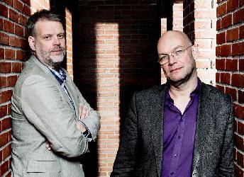 Michael Hjorth och Hans Rosenfeldt på Hbg stadsbibliotek