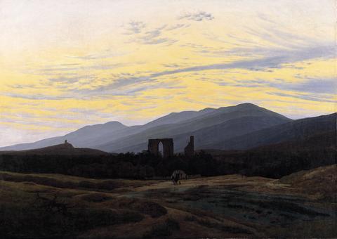 Alene med naturen. Caspar David Friedrich, Ruiner i Riesengebirge, ca 1834