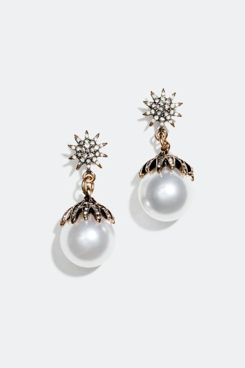 Øredobber stjerne og perle