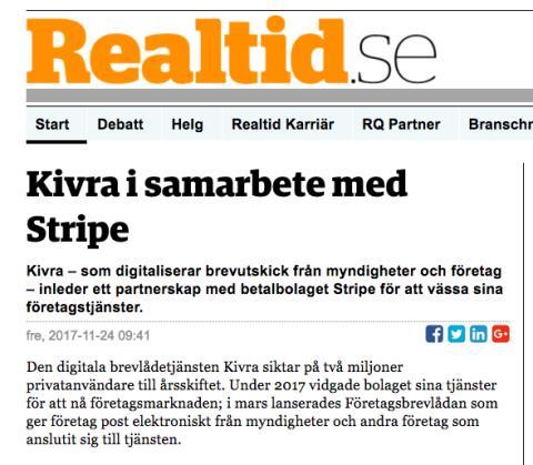 Realtid.se skriver om Kivras samarbete med Stripe
