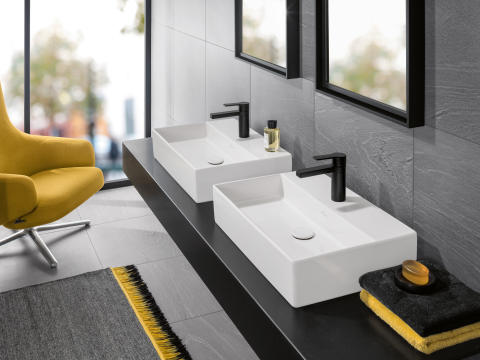 Delicate look and trendy surface – Memento surface-mounted washbasin now with TitanCeram and concrete look