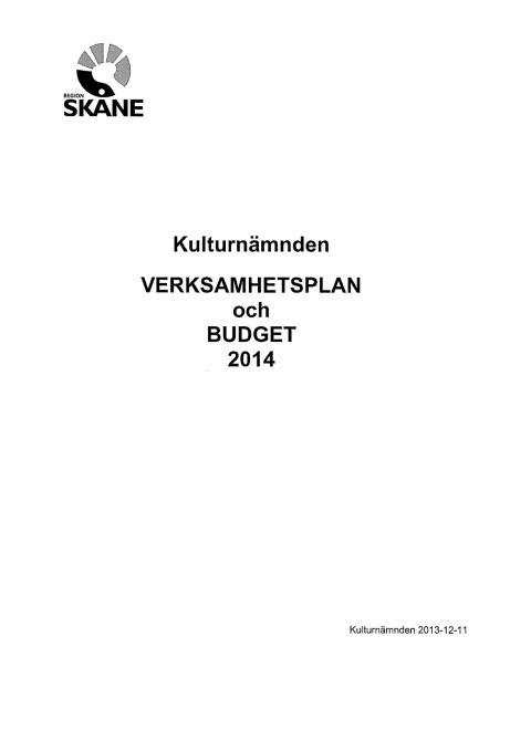 Budget och verksamhetsplan kulturnämnden 2014