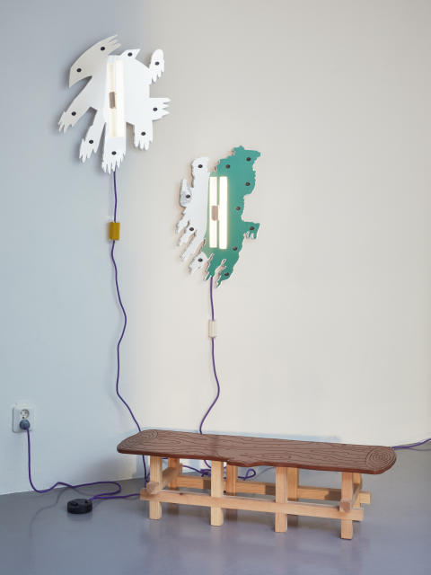 Log Table and Mirror Lamps – design by Jonatan Nilsson