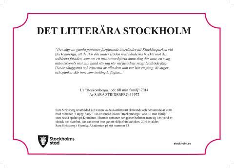 Sara Stridsberg tilldelas litterär skylt vid Beckomberga